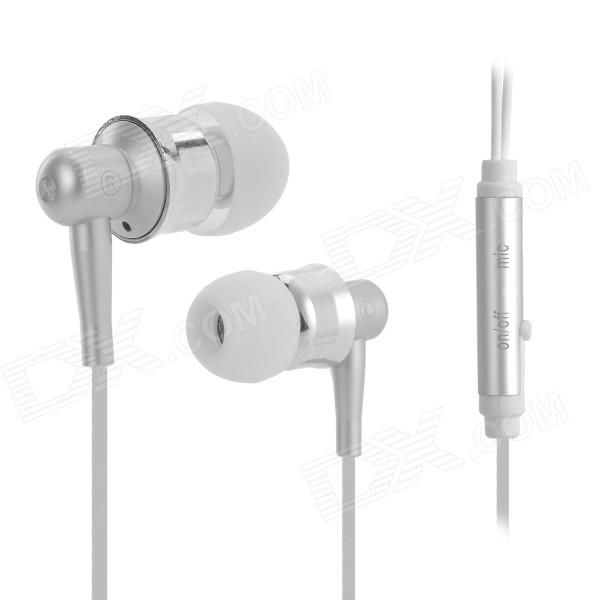 OVLENG iP-670 Stereo In-Ear Earphone w/ Microphone for Cell Phone - White + Silver