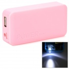 Stylish 2 x 18650 Battery Holder External Power Charger w/ 1-LED Flashlight - Pink