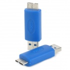 USB 3.0 Male to Micro 9-Pin Male Adapter for Samsung Galaxy Note 3 - Blue (2 PCS)