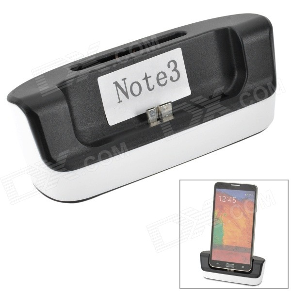 2-in-1 Charging Docking Station w/ Battery Dock for Samsung Galaxy Note 3 N9000 - Black + White usb charging dock station w usb data cable 3800mah battery for samsung galaxy note 2 n7100
