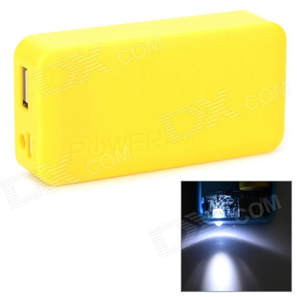 Stylish 2 x 18650 Battery Holder External Power Charger w/ 1-LED Flashlight - Yellow 1pcs lot battery holder box case 3x aa 4 5v with switch