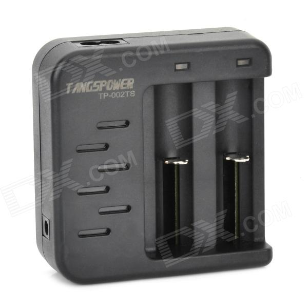 TANGSPOWER TP-002TS Dual-Slot Li-ion 18650 / 16340 / 14500 Battery Charger - Black (EU Plug) smart 18650 li ion battery charging stand in car charger travel charger set black