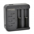 TANGSPOWER TP-002TS Dual-Slot Li-ion 18650 / 16340 / 14500 Battery Charger - Black (EU Plug)