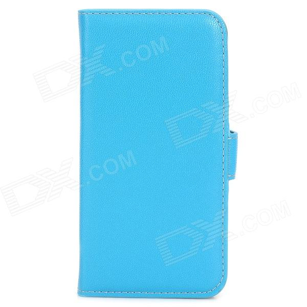 Stylish Flip-open PU Leather Case w/ Card Slot for Iphone 5S - Sky Blue simple plain flip open pu leather case w card slot for iphone 5s black