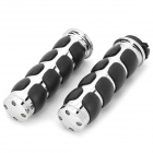 Zinc Alloy Plating Motorcycle Handle Grip Cover for Harley-Davidson Prince - Black + Silver (Pair)