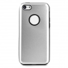 Protective Aluminum + Silicone Back Case for Iphone 5C - Silver + Black