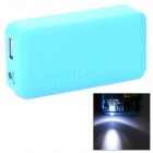 Stylish 2 x 18650 Battery Holder External Power Charger w/ 1-LED Flashlight - Blue