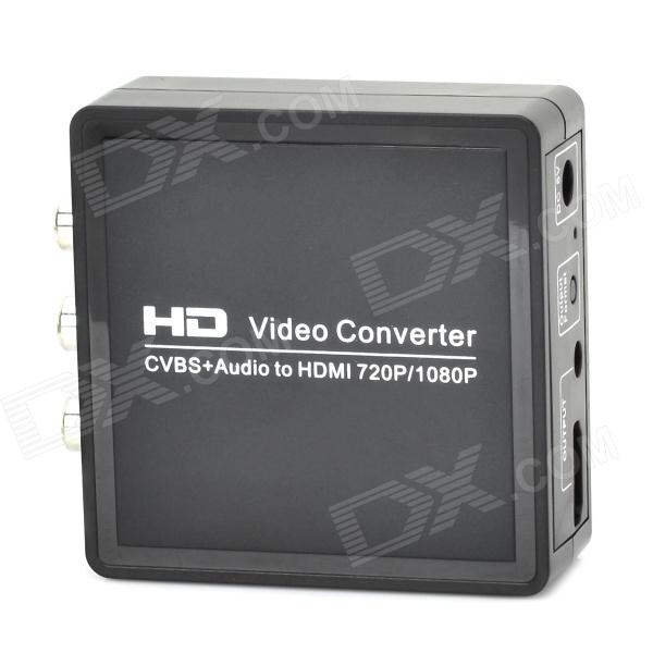 AV / CVBS / RCA to HDMI 1080P Audio Video Converter - Black + Silver + White