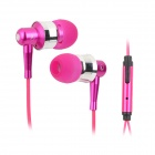 OVLENG iP-670 Stylish Universal 3.5mm Jack Wired Stereo Headset w/ Microphone - Deep Pink + Silver