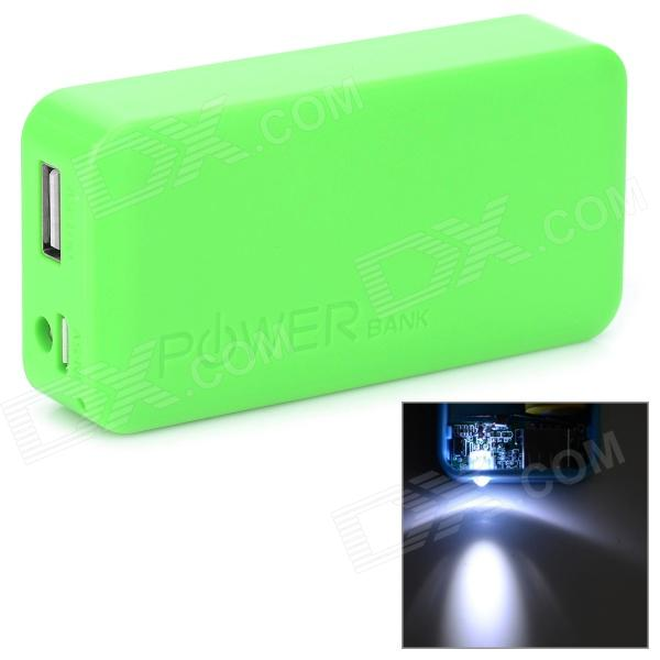 Stylish 2 x 18650 Battery Holder External Power Charger w/ 1-LED Flashlight - Green