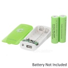 2 x 18650 Battery Holder External Power Charger w/ 1-LED Flashlight / Indicator Light - Green