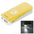 2 x 18650 Battery Holder External Power Charger w/ 1-LED Flashlight / Indicator Light - Yellow