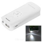 Universal Convenient 5V USB Adapter Power Bank w/ Torch Light + Indicator - White (2 x 18650)