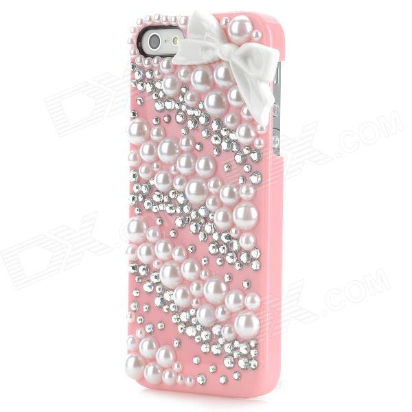 Princess Style Shiny Crystal Back Case for Iphone 5 - Pink princess style shiny crystal back case for iphone 5 white
