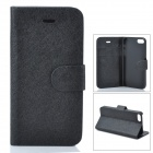 Protective Ice Crystal Style PU Leather Flip Open Case w/ Card Slot for Iphone 5C - Black