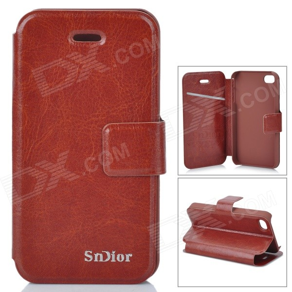 Stylish Protective PU Leather Case for Iphone 4 / 4S - Brown protective pu leather pouch bag for iphone 5 4 4s coffee