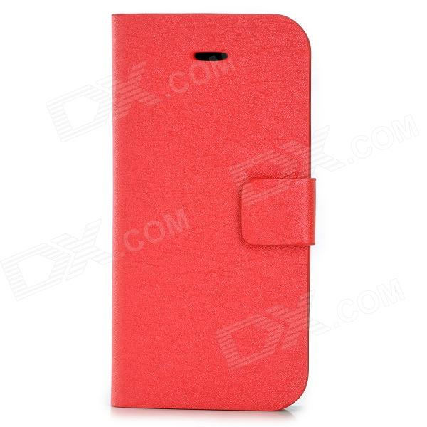 Silk Texture PU Leather Case w/ Card Slot for Iphone 5C - Red brushed pc tpu hybrid protective case with card slot for iphone 7 plus red