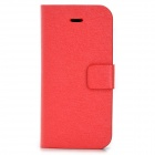 Silk Texture PU Leather Case w/ Card Slot for Iphone 5C - Red