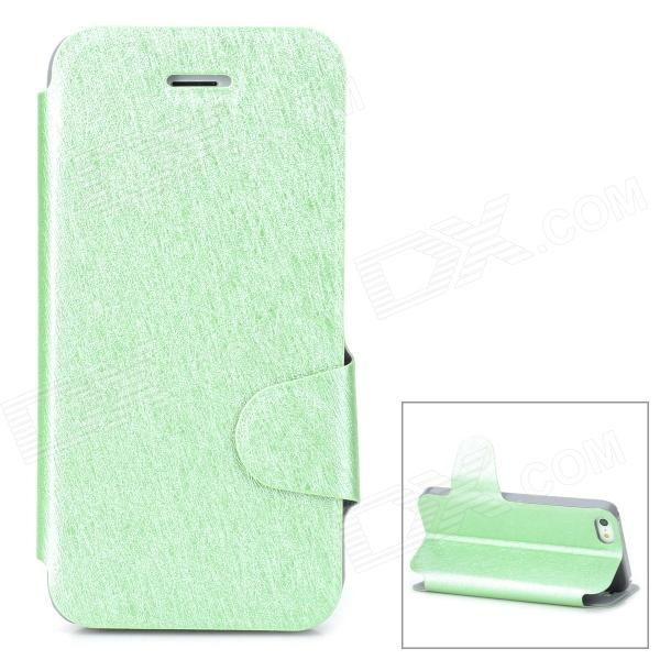 Protective Ice Crystal Grain PU Leather Case for Iphone 5 / 5s - Green protective pu leather case for iphone 5 5s brown