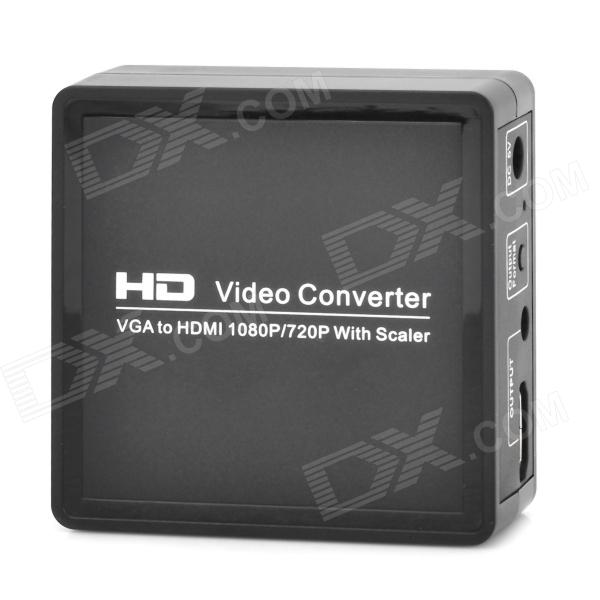 VGA to HDMI 1080P / 720P Video Audio Converter w/ Scaler - Black + Silver voxlink vga to hdmi scaler converter box 4kx2k 1080p output supporting multi vesa standard vga formats input