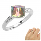 Madougongzhu S113-1 Woman's Stylish Square Crystal-inlaid Ring - Silver (Size 8)