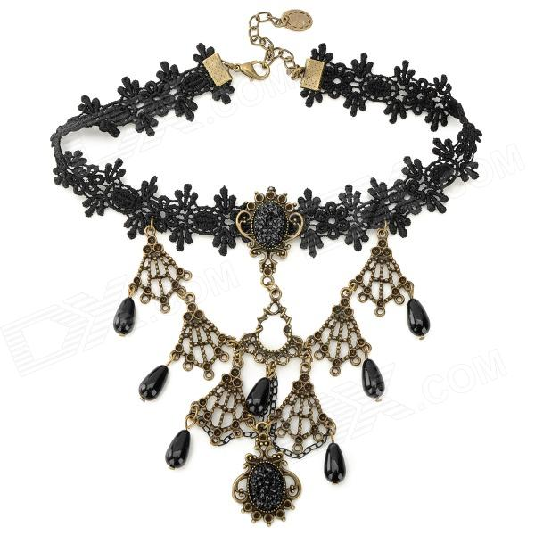 JL97 Stylish Retro Lace + Resin + Zinc Alloy Necklace - Black + Brass цепочка