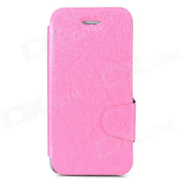 Protective Ice Crystal Grain PU Leather + Plastic Case for Iphone 5 / 5s - Pink ipega i5056 waterproof protective case for iphone 5 5s 5c pink