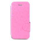 Protective Ice Crystal Grain PU Leather + Plastic Case for Iphone 5 / 5s - Pink