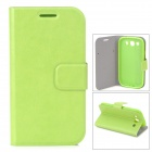 Protective PU Leather Holder Case w/ Card Slot for Samsung Galaxy S3 i9300 - Green