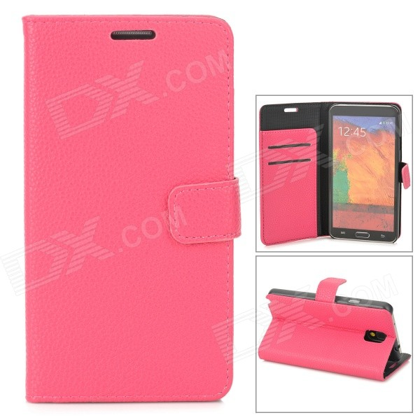 Stylish Flip-Open PU Leather Case w/ Stand / Card Slot for Samsung Galaxy Note 3 / N9000 - Deep Pink protective pu leather flip open case w stand for samsung note 3 n9000 deep pink light green