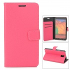Stylish Flip-Open PU Leather Case w/ Stand / Card Slot for Samsung Galaxy Note 3 / N9000 - Deep Pink