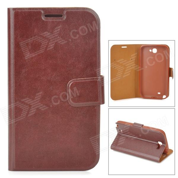Stylish Flip-Open PU Leather Case w/ Stand / Card Slot for Samsung N7100 - Brown boxwave huawei g6310 bamboo natural panel stand premium bamboo real wood stand for your huawei g6310 small