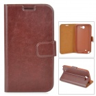 Stylish Flip-Open PU Leather Case w/ Stand / Card Slot for Samsung N7100 - Brown