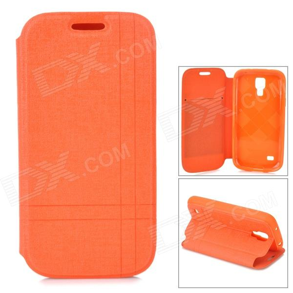Protective PU Leather Flip-open Case w/ Holder for Samsung Galaxy S4 Mini i9190 - Orange alligator pattern protective flip open pu leather case for samsung galaxy s4 mini i9190 white