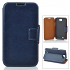 Stylish Flip-Open PU Leather Case w/ Stand / Card Slots for Samsung N7100 - Deep Blue