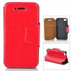 Stylish Flip-open PU Leather + TPU Case w/ Holder for Iphone 4 / 4S - Red