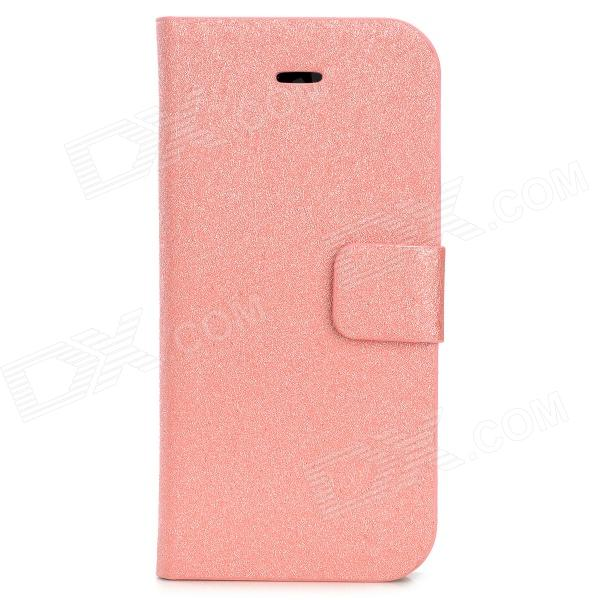 Silk Texture PU Leather Case w/ Card Slot for Iphone 5C - Pink diamond flower decor silk texture leather case for iphone 7 plus 5 5 inch black