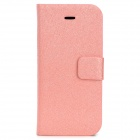 Silk Texture PU Leather Case w/ Card Slot for Iphone 5C - Pink
