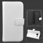 Stylish Flip-Open PU Leather Case w/ Stand / Card Slots for Motorola X Phone - White