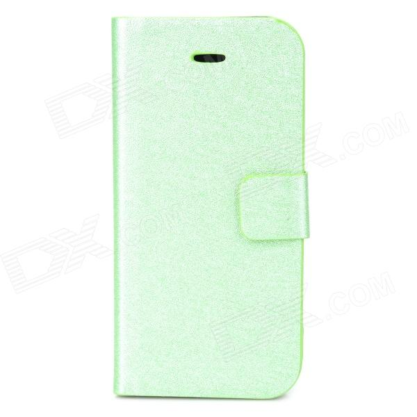 Silk Style Protective PU Leather + Plastic Case for Iphone 5C - Light Green silk style protective pu leather plastic case for iphone 4 4s deep pink