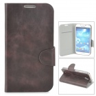 Protective PU Leather Flip-open Case w/ Card Slots for Samsung Galaxy S4 i9500 - Black Purple