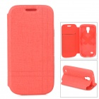 Protective Flip-open PU Leather Case w/ Holder for Samsung Galaxy S4 Mini i9190 - Red