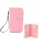 MLT LX-L35H Protective PU Leather Case w/ Card Slot / Strap for Sony L35h - Pink