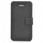 Silk Texture PU Leather Case w/ Card Slot for Iphone 4 / 4S - Black