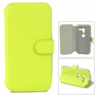 Protective PU Leather Flip-open Case for Moto X - Green