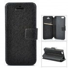 Silk Texture PU Leather Case w/ Card Slot for Iphone 5C - Black