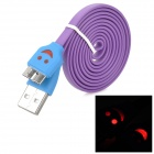 Smile Pattern Micro USB LED Flashing Flat Data Charging Cable for Samsung N9000 - Purple + Blue