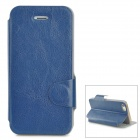 Protective PU Leather Flip Open Case w/ Card Slot for Iphone 5 / 5s - Deep Blue