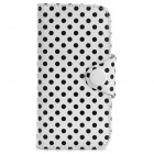 Cute Polka Dots Pattern PU Leather Case w/ Card Slot for Iphone 5 / 5s - White + Black