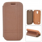 Protective Flip-open PU Leather Case w/ Holder for Samsung Galaxy S4 Mini i9190 - Brown